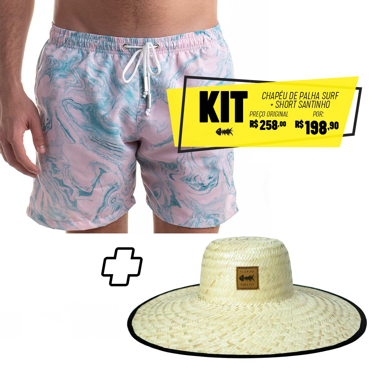 Kit Short Santinho + Chapéu de Palha Surf