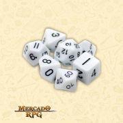 Kit Completo de Dados RPG - Opaque White