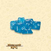 Kit Completo de Dados RPG - Translucent Blue