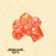Kit Completo de Dados RPG - Translucent Orange