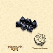 Kit Completo de Mini Dados RPG - Opaque Black