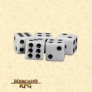 Kit de Dados d6 Miami Dice - Branco Opaco - RPG