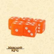 Kit de Dados d6 Miami Dice - Laranja Escuro Translúcido - RPG