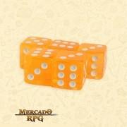 Kit de Dados d6 Miami Dice - Laranja Translúcido - RPG