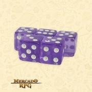 Kit de Dados d6 Miami Dice - Lilás Translúcido - RPG