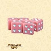 Kit de Dados d6 Miami Dice - Rosa Coral Opaco - RPG