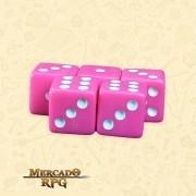 Kit de Dados d6 Miami Dice - Rosa Escuro Opaco - RPG