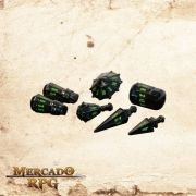 PolyHero Dice Dados RPG - Black & Goblin Green