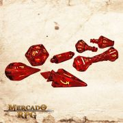 PolyHero Dice Dados RPG Wizard Set - Dragonfire with Brimstone