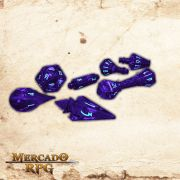 PolyHero Dice Wizard Set - Violet Storm with Lighting