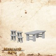 Wooden Table & Stools - Miniatura RPG