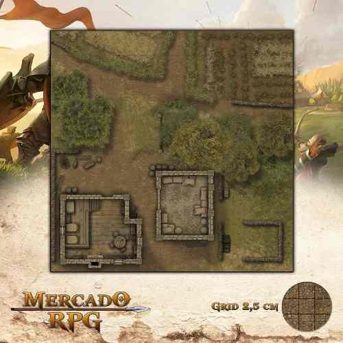Acampamento do Refúgio 50x50 - RPG Battle Grid D&D