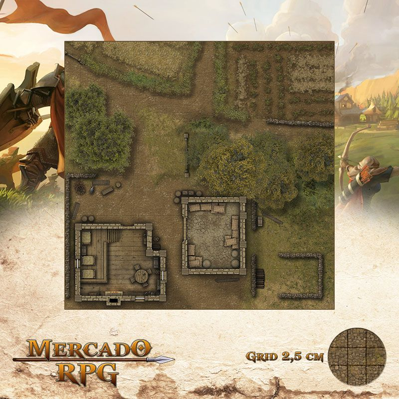 Acampamento do Refúgio 50x50 - RPG Battle Grid D&D