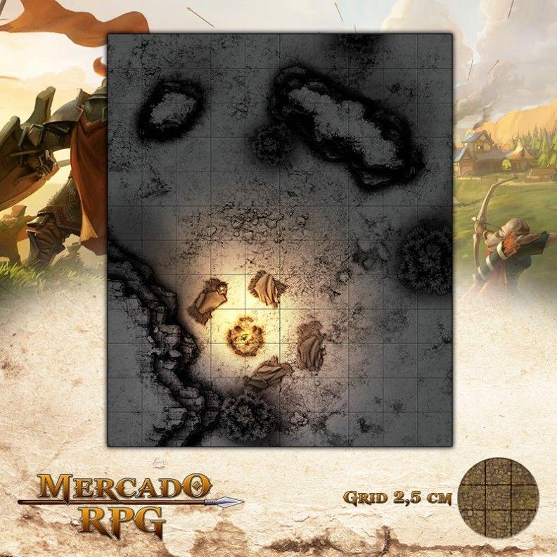 Acampamento na Tundra Gélida 25x30 Grid de Batalha - RPG Battle Grid D&D