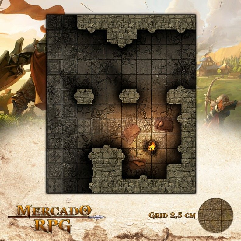 Acampamento no Mausoléu 25x30 - RPG Battle Grid D&D - Mercado RPG