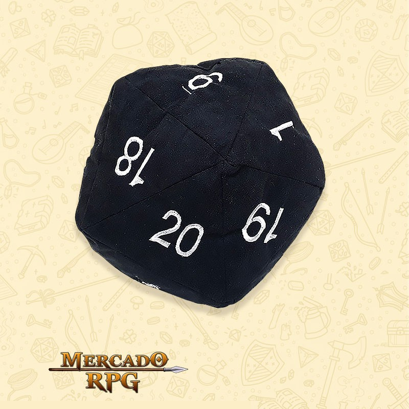 Almofada D20 - Preta  - Mercado RPG