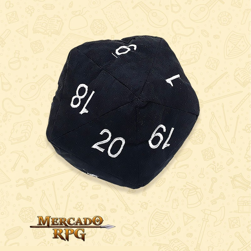 Almofada D20 - Preta D&D - RPG