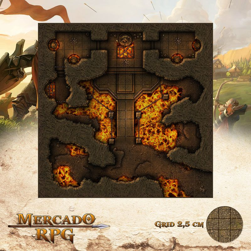 Altar do Senhor do Fogo 50x50 - RPG Battle Grid D&D  - Mercado RPG