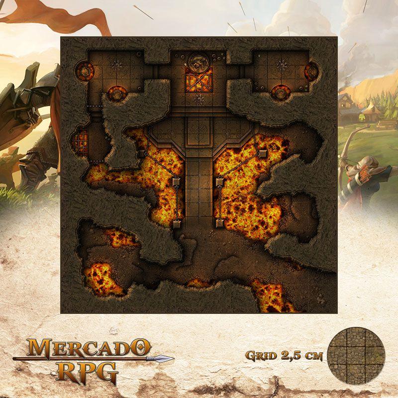Altar do Senhor do Fogo 50x50 Grid de Batalha - RPG Battle Grid D&D