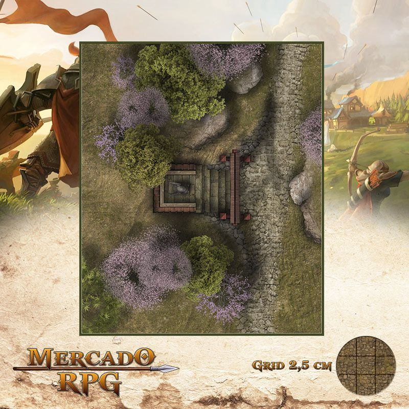 Altar na Estrada 25x30 Grid de Batalha - RPG Battle Grid D&D