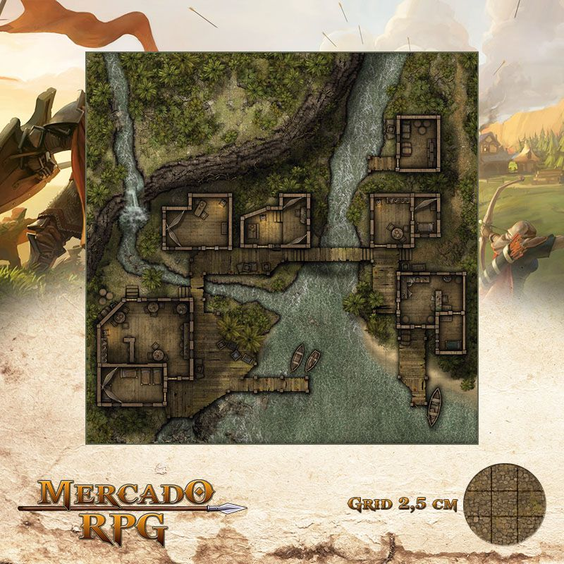 Ancoradouro Clandestino 75x75 - RPG Battle Grid D&D  - Mercado RPG
