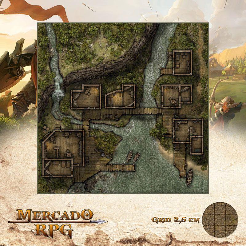 Ancoradouro Clandestino 75x75 Grid de Batalha - RPG Battle Grid D&D