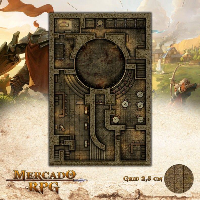 Arena Clandestina 50x75 Grid de Batalha - RPG Battle Grid D&D