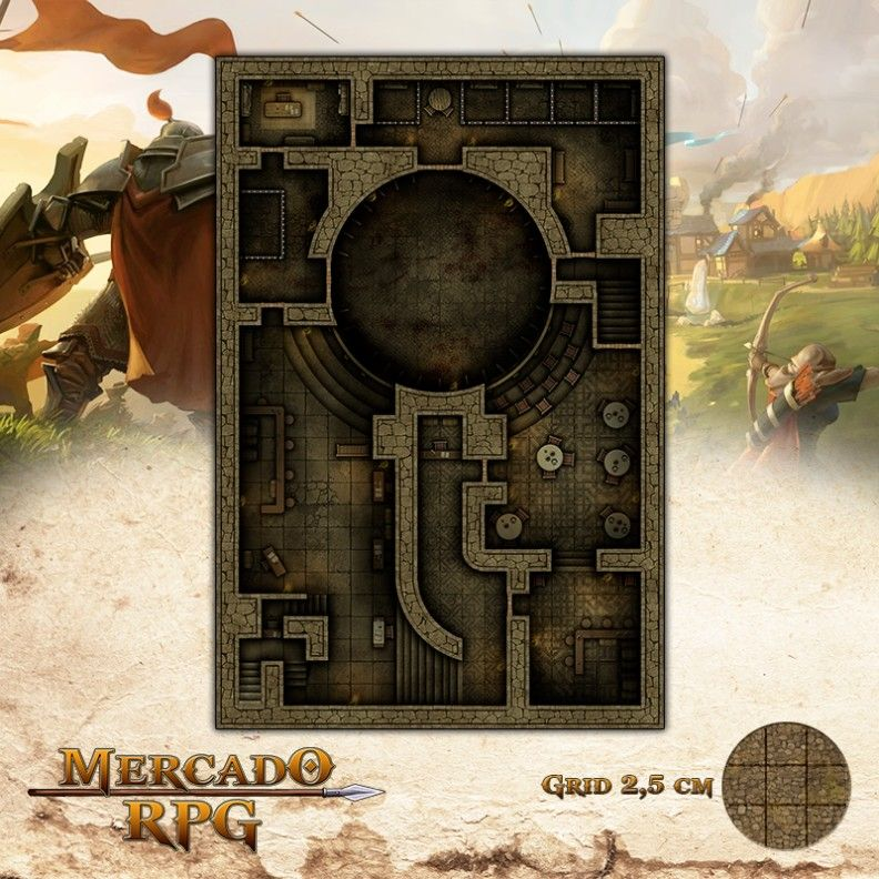 Arena Clandestina Escuro 50x75 Grid de Batalha - RPG Battle Grid D&D