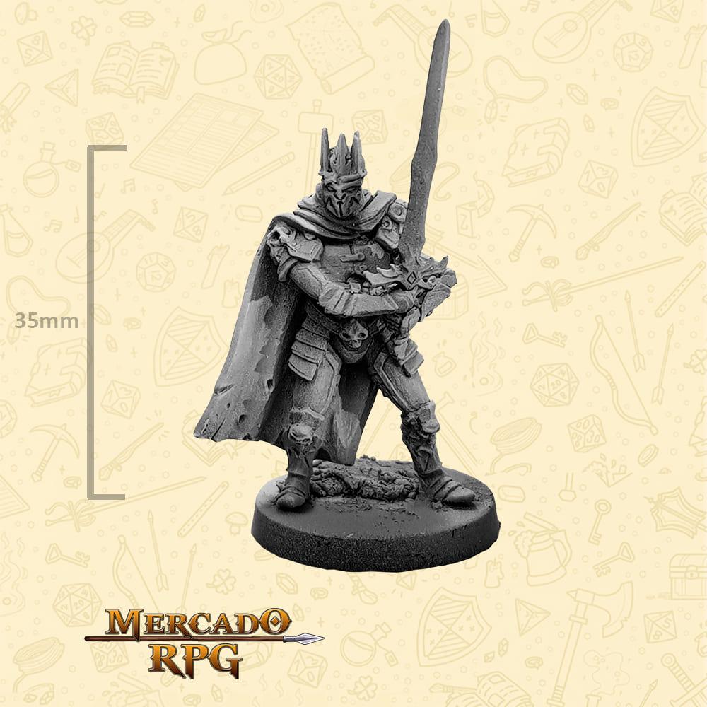 Arthas - Death Knight - Basilisco Miniaturas - Metal Branco - Miniaturas para RPG