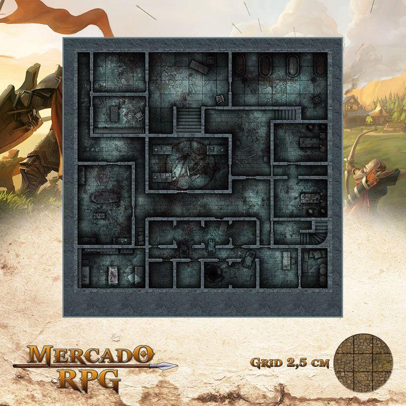 Asilo da Loucura Subsolo 50x50 Grid de Batalha - RPG Battle Grid D&D