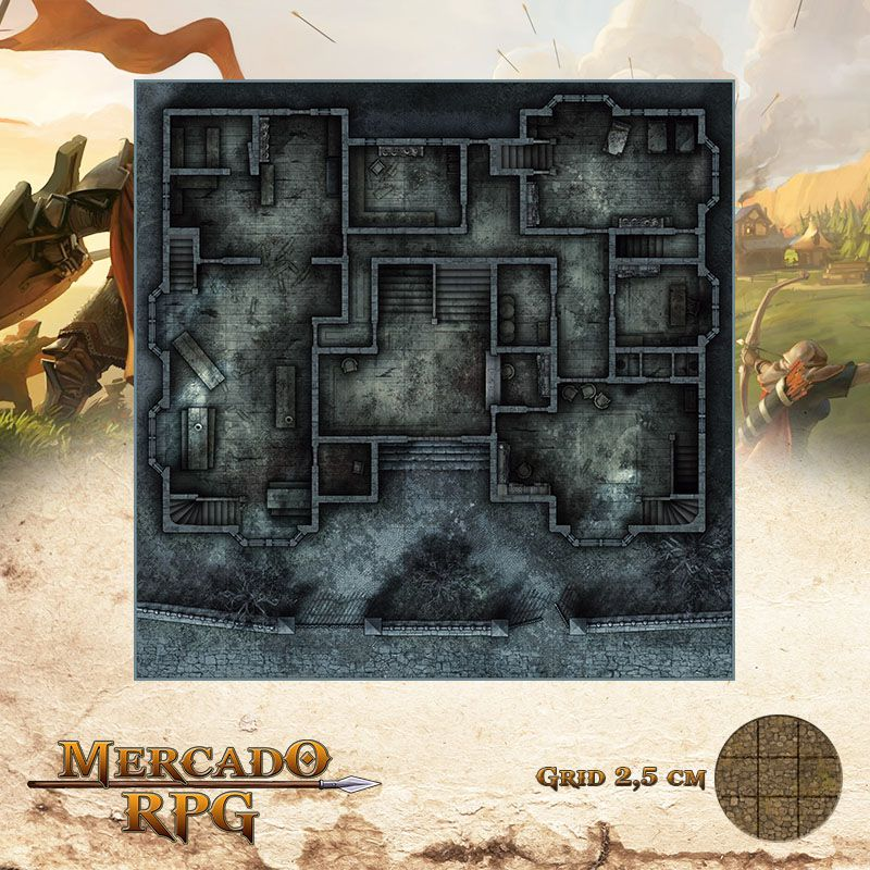 Asilo da Loucura Térreo 50x50 Grid de Batalha - RPG Battle Grid D&D