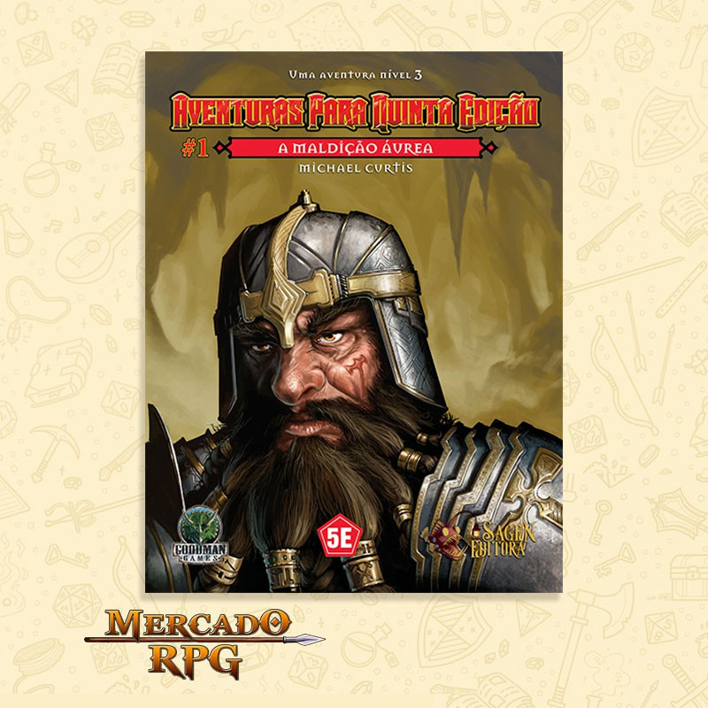 Aventuras para Quinta Edição - Nível 1 - A Maldição Áurea - RPG  - Mercado RPG