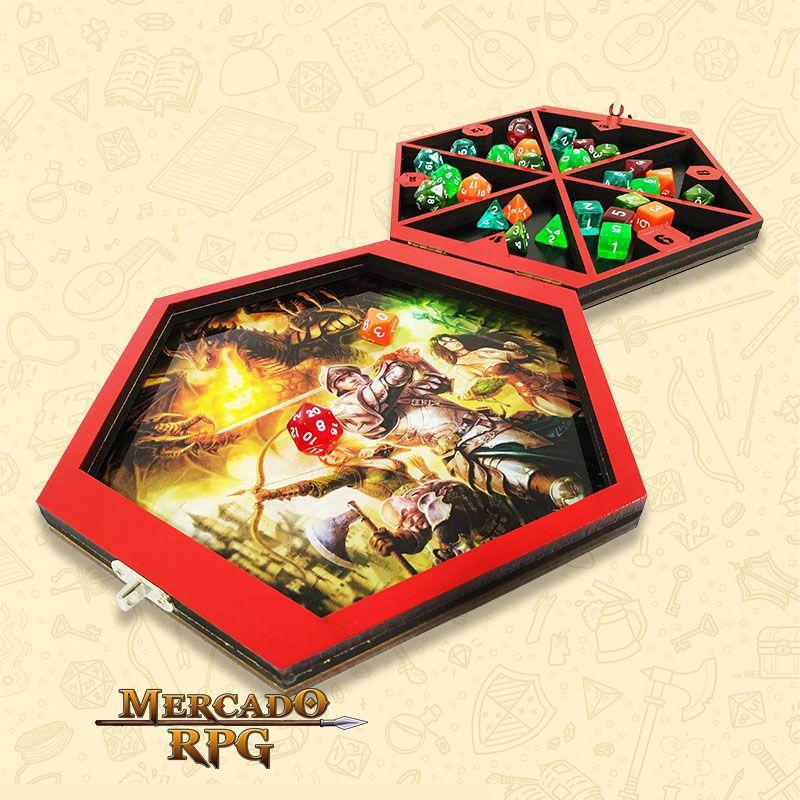 Bandeja de Dados Caixa MDF Hexagonal - RPG