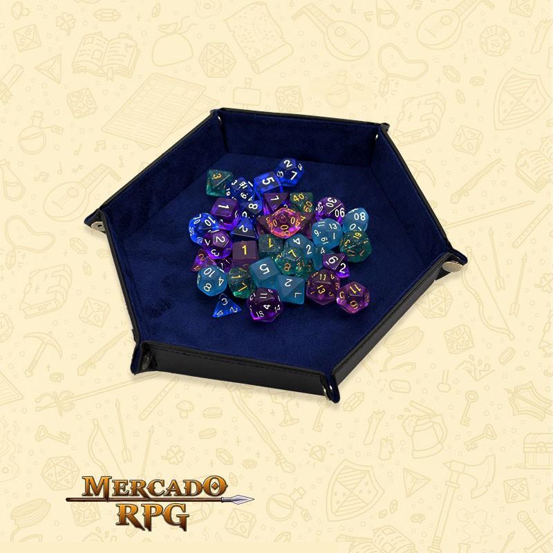 Bandeja de Dados D20 - Azul  - Mercado RPG