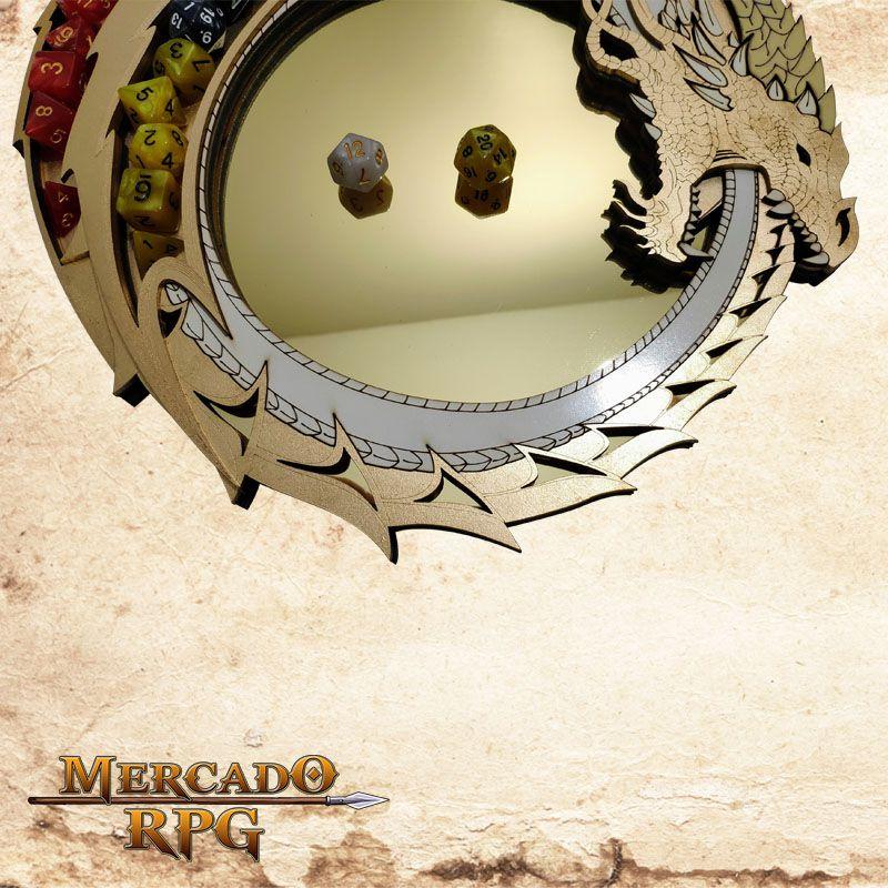 Bandeja de Dados Dragão Dourado  - Mercado RPG