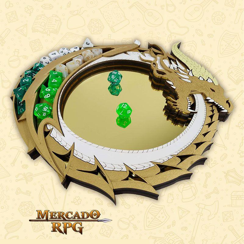 Bandeja de Dados Dragão Dourado - RPG  - Mercado RPG