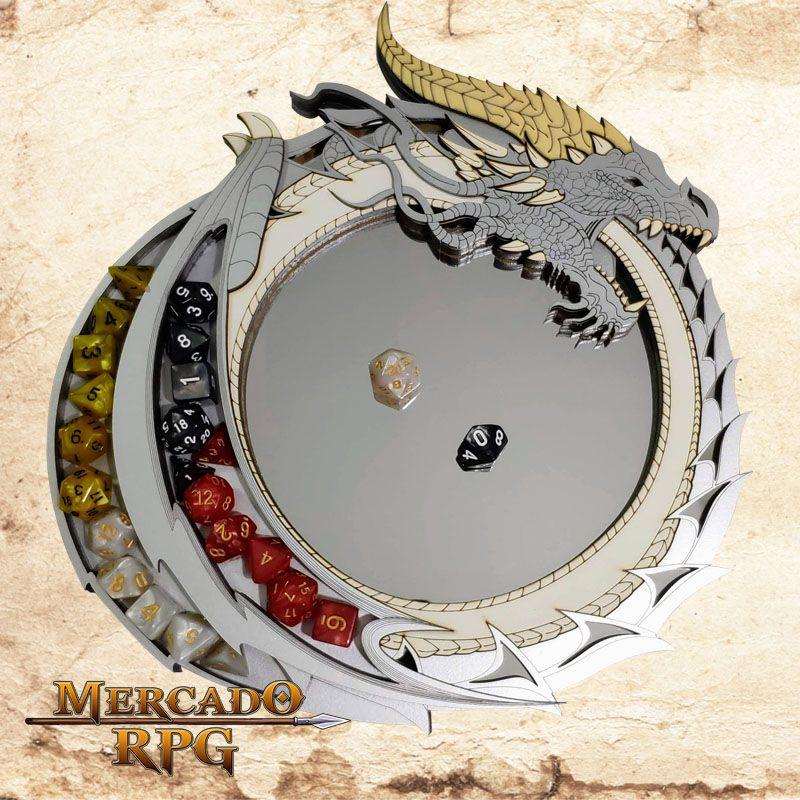 Bandeja de Dados Dragão Prata  - Mercado RPG