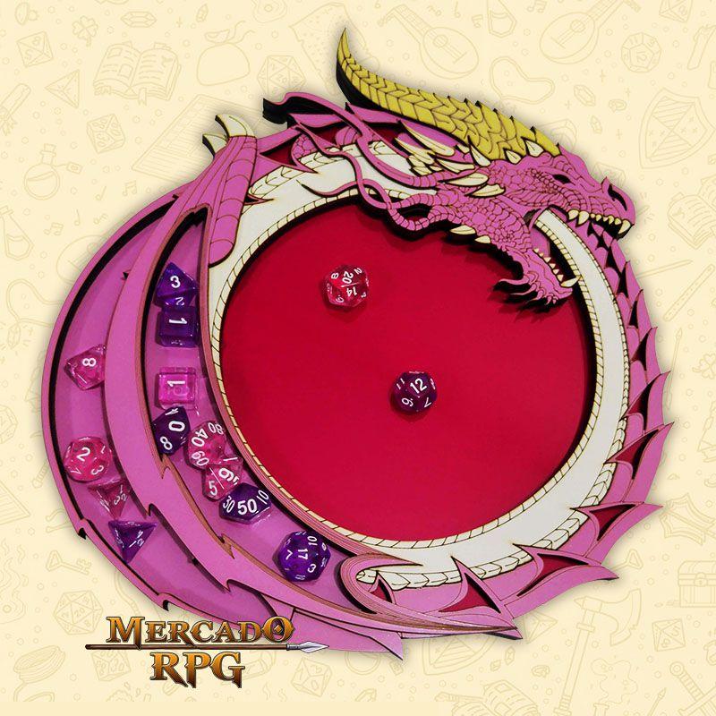Bandeja de Dados Dragão Rosa em MDF e acrílico- RPG