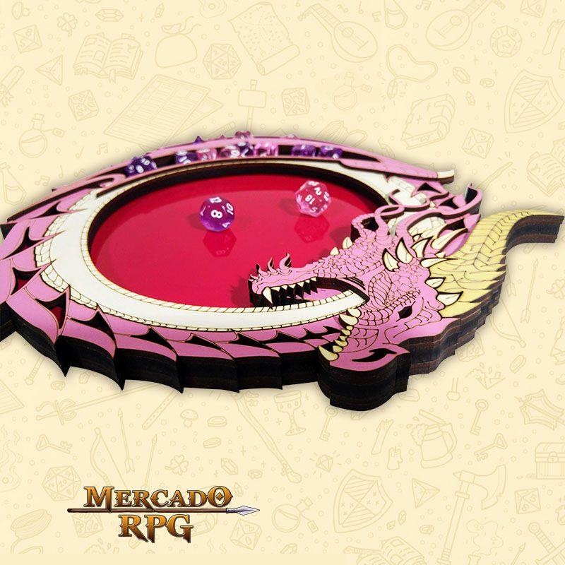 Bandeja de Dados Dragão Rosa - RPG  - Mercado RPG