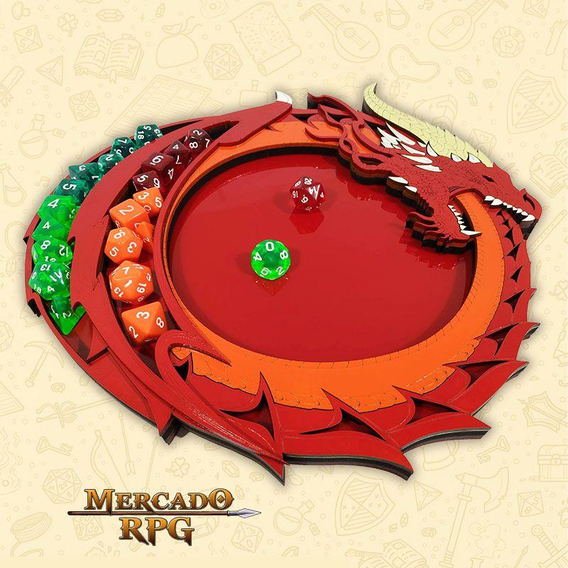 Bandeja de Dados Dragão Vermelho - RPG  - Mercado RPG