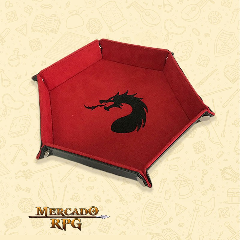 Bandeja de Dados Dragon - Vermelha  - Mercado RPG