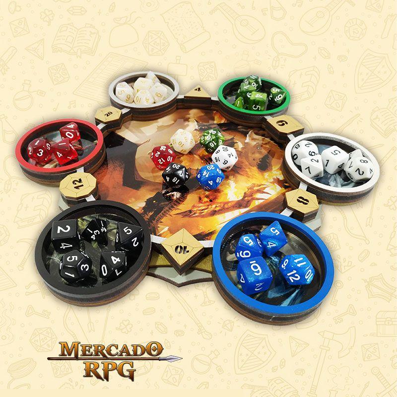 Bandeja de Dados Modelo Dragões Cromáticos - RPG