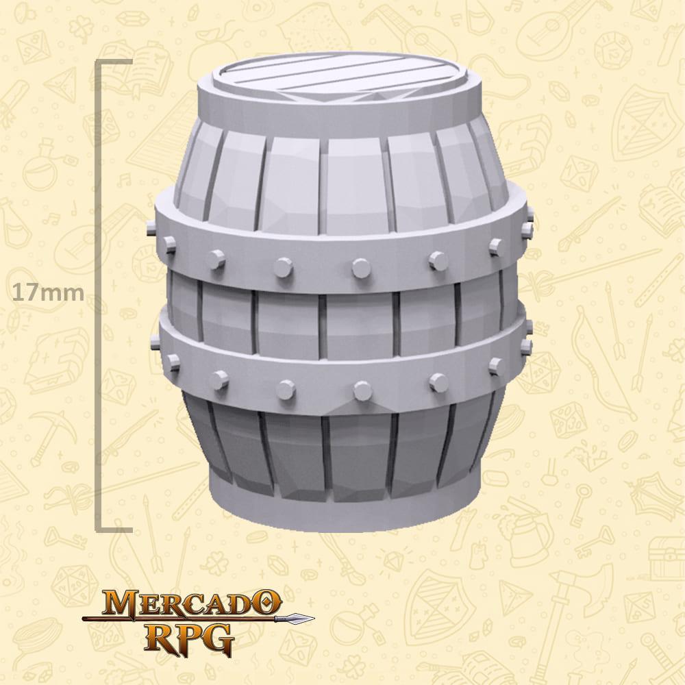 Barril de Madeira - Miniaturas de cenários para RPG e Boardgames