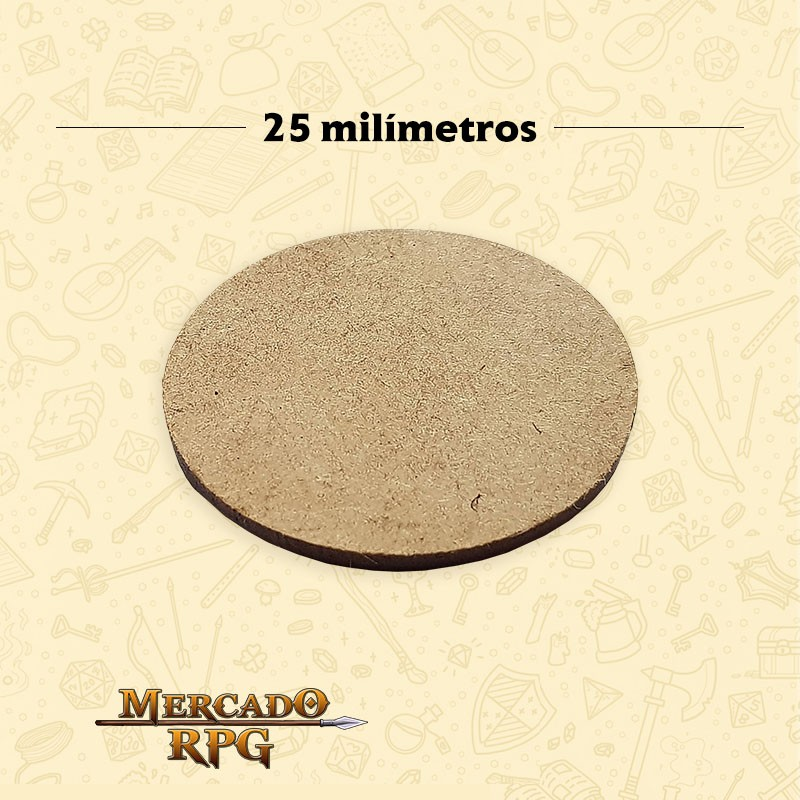 Base redonda em MDF 25x25mm - RPG  - Mercado RPG