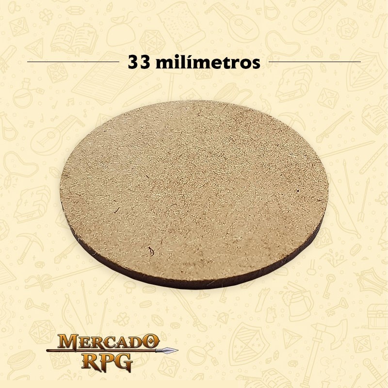Base redonda em MDF 33x33mm - RPG
