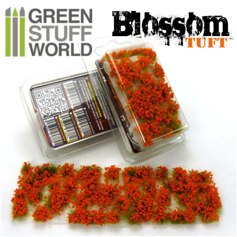Blossom TUFTS - 6mm self-adhesive - ORANGE Flowers - RPG  - Mercado RPG