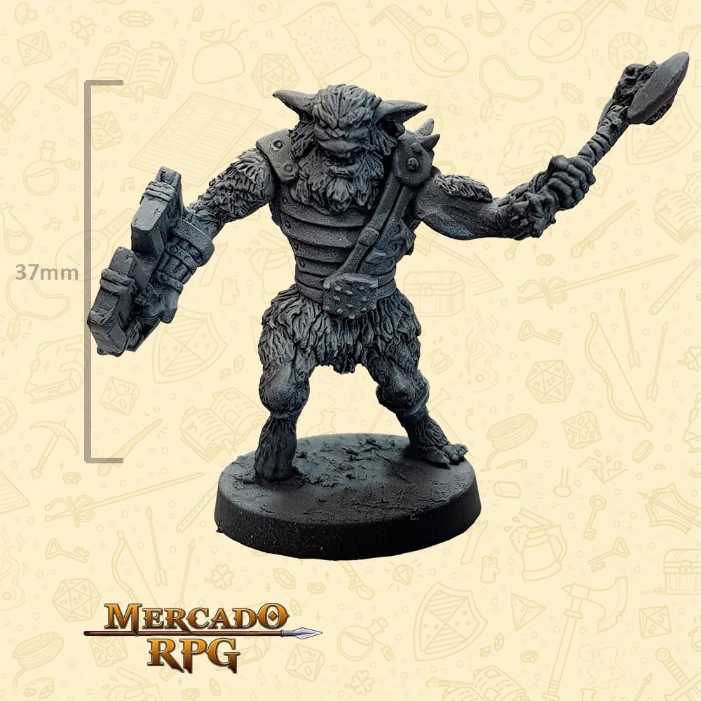 Bugbear - Machado e Escudo - Basilisco Miniaturas - Metal Branco - Miniaturas para RPG