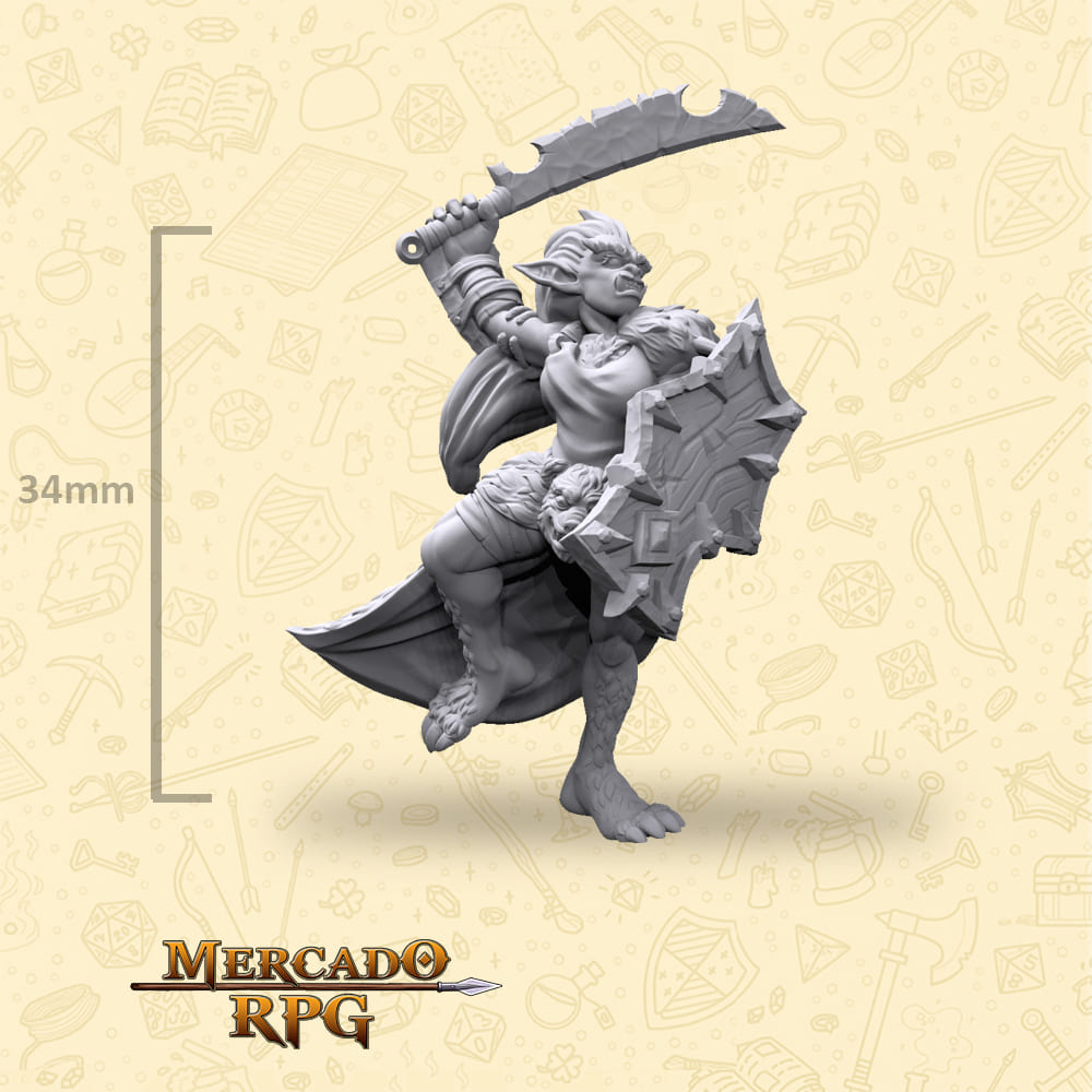 Bugbear Female Sword and Shield - Miniatura - RPG