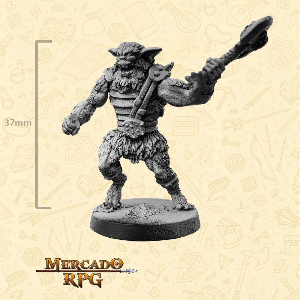 Bugbear - Machado - Basilisco Miniaturas - Metal Branco - Miniaturas para RPG