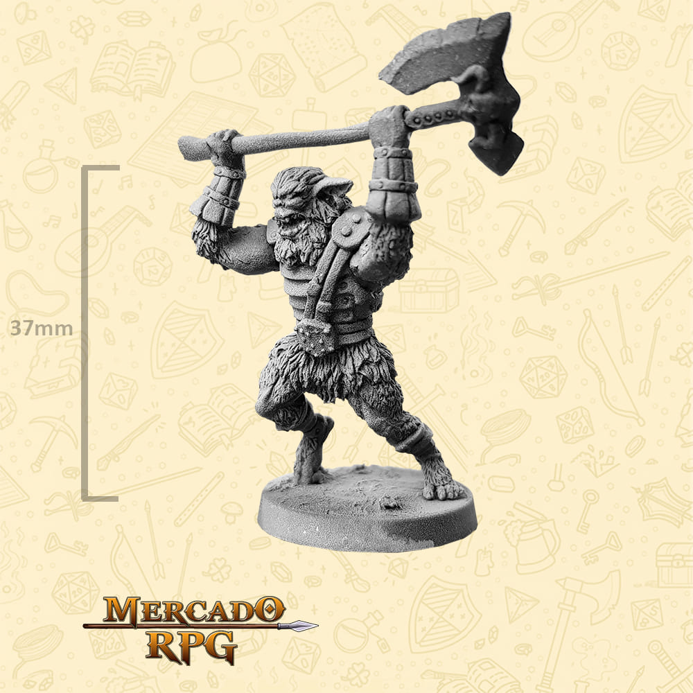 Bugbear - Machado Grande - Basilisco Miniaturas - Metal Branco - Miniaturas para RPG